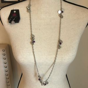 Flirty long silver & purple necklace w/ earrings